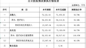 公立医院预结算执行情况表